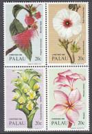 PALAU, 1984 XMAS FLOWERS BLOCK 4 MNH - Palau