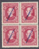 SLOVAKIA, 1939  1K RED O/PRINT BLOCK 4 MNH - Neufs