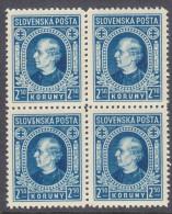 SLOVAKIA, 1939  2.50K BLUE BLOCK 4 MNH - Ungebraucht