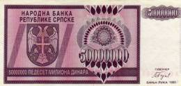 Bosnia 50,000,000 Dinara 1993 Pick 145 No  UNC - Bosnie-Herzegovine