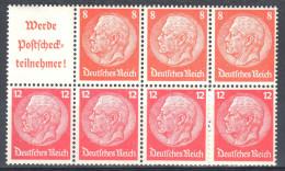 Deutsches Reich Zusammendruck Mi  H - Blatt 100 **  - Siehe Scan - Alemania