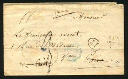 PARIS : Pli De PARIS De 1845 En Port Du Par La Petite Poste Avec Cachets Type 2507 + 1D + Verso Nombreux Cachet Réexpedi - Marcophilie (Lettres)