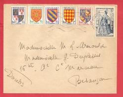N°Y&T 951+954+956+ PARIS    Vers   BESANCON Le   1956 - France