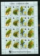 Cuba 1998,16V In Sheetlet,WWF,birds,vogels,vög El,oiseaux,uccelli,pajaro S,aves,parrots, MNH/Postfris(L1387) - Vogels