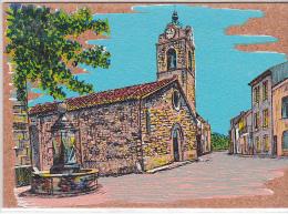 22263 Peinture Sur Liege Veritable . Greoux Les Bains Place Eglise  -la Huche- - Gréoux-les-Bains