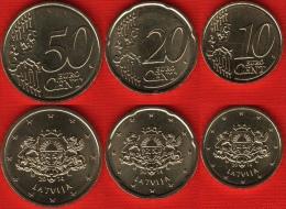 Latvia Set Of 3 Coins: 10 - 20 - 50 Euro Cents 2014 UNC - Lettonia