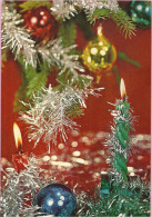 Happy New Year - Christmas Balls And Green Candle, 1974., Yugoslavia ( S 1/7) - Anno Nuovo