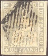 Schweiz 1854- Strubel 1 Fr. Schwarzer Seidenfaden Zu#27C SH27B2sz - 1854-1862 Helvetia (Ungezähnt)