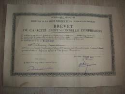 Diplôme : Brevet De Capacité Professionnelle D'Infirmière 1937 - Diplomi E Pagelle