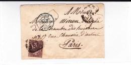 ITALIE - 1877 - ENVELOPPE Avec N° 189 Pour PARIS Avec ENTREE En FRANCE Par MODANE - 1861-78 Victor Emmanuel II.