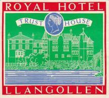ENGLAND LLANGOLLEN ROYAL HOTEL HOTEL VINTAGE LUGGAGE LABEL - Hotel Labels
