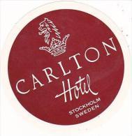 SWEDEN STOCKHOLM CARLTON HOTEL VINTAGE LUGGAGE LABEL - Hotel Labels