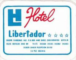 BOLIVIA LA PAZ HOTEL LIBERTADOR VINTAGE LUGGAGE LABEL - Hotel Labels
