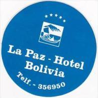 BOLIVIA LA PAZ SHERATON HOTEL VINTAGE LUGGAGE LABEL - Hotel Labels