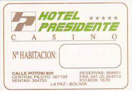 BOLIVIA LA PAZ HOTEL PRESIDENTE &amp  CASINO VINTAGE LUGGAGE LABEL - Hotel Labels