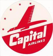 CAPITAL AIRLINES VINTAGE LUGGAGE LABEL - Baggage Labels & Tags