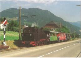 TRAIN Suisse - EISENBAHN Schweiz - BLONAY - Arrivée à Blonay De La Locomotive Vapeur 99 193 (anc. D8) Et Voiture GFM/CEV - Trains
