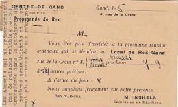 Centre De Gand Pour La Propagande De REX  Rue De La Croix Gent 1935 Journal Le Bien Public - Political Parties & Elections