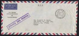 NOUVELLES HEBRIDES - NEW HEBRIDES / 1955 LETTRE AVION EN FRANCHISE POSTALE POUR LES USA (ref 3529) - English Legend