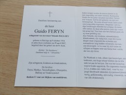 Doodsprentje Guido Feryn Reninge 9/10/1934 - 29/4/2007 ( Yolande Balloey) - Religion & Esotérisme