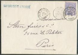 N°48 - 25 Centimes Bleu Sur Rose, Obl. Sc BRUXELLES (type Avec Grands Caractères) Sur Lettre Du 20 Août 1885 Vers Paris - 1884-1891 Léopold II