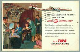 TWA Trans World Airlines Super G Constellation Advertising Postcard 1955 (AL-60) - 1946-....: Modern Era
