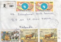 Mali 1988 Gao WWF Derbia Antilope 20f Apartheid Dove Pigeon Anti-polio Campaign Registered Cover - Unclassified