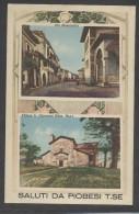 6139-SALUTI DA PIOBESI TORINESE(TORINO)-VIA MONTEBELLO-CHIESA S.GIOVANNI-1943-FP - Souvenir De...