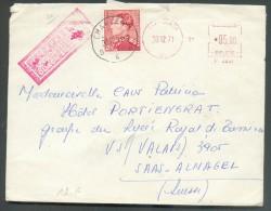 N°848B En Complément D'un Affranchissement Mécanique 5F/F 2291 Obl. Sc CHARLEROI 4 Sur Lettre EXPRES  Du 30-12-1971 Vers - 1936-1951 Poortman
