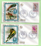 Enveloppe 1° Jour, Yvert N° 1543 / 47   JEUX OLYMPIQUES GRENOBLE - 5 Enveloppes - FDC
