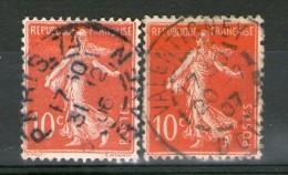 "N° 135° Type I 1906 + 135 IIAa Rouge Sang Foncé_""Valentigney"" 1907 - 1906-38 Säerin, Untergrund Glatt"