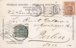 G)1902 MEXICO, 1 & 3 CENTS, POSTCARD CIRCULATED FROM MEXICO TO BERLIN, CHAPULTEPEC VIEW, XF - Mexiko