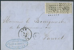 N°17(2) - 10 Centimes Gis (paire) Obl.LP 19 Sur Lettre De ATH Le 1 Octobre 1867 + Boîte Rurale KM De MAFFLES Vers Pamel - 1865-1866 Perfil Izquierdo
