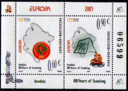 Montenegro 2007 Europa CEPT, Scouts, Block, Souvenir Sheet MNH - 2007