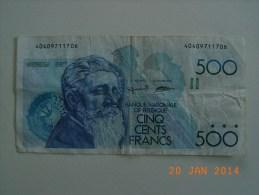 Billet BELGIQUE De 500 Francs  Pick.143a. - België