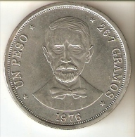 MONEDA DE PLATA DE LA REPUBLICA DOMINICANA DE 1 PESO DEL AÑO 1976  SIN CIRCULAR-UNCIRCULATED (COIN) SILVER-ARGENT. - Dominicaine