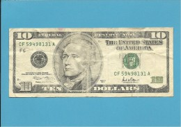 U. S. A. - 10 DOLLARS - 2001 - Pick 511 - ATLANTA - GEORGIA - Billetes De La Reserva Federal (1928-...)