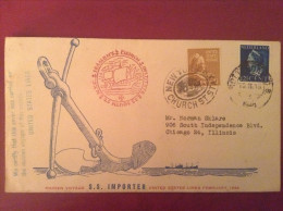 US 1946 FDC - SS Importer UNITED STATES LINES 1946 MAIDEN VOYAGE Cover - ....-1951