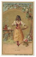 Chromo Publicitaire Chocolat MEXICAIN  -  Le Café - Lith.J. Minot , Editeur , Paris - Belle Dorure - Chocolat