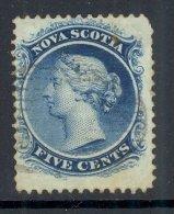 NOVA SCOTIA, 1860 5C BLUE VFU, Cat £25 - Nova Scotia
