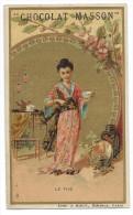 Chromo Publicitaire Chocolat MASSON  -  Le Thé  - Lith.J. Minot , Editeur , Paris - Belle Dorure - Chocolat