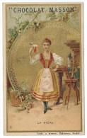 Chromo Publicitaire Chocolat MASSON  -  La Bière  - Lith.J. Minot , Editeur , Paris - Belle Dorure - Chocolat