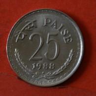 INDIA  25  PAISA  1988   KM# 49,5  -    (Nº04798) - India