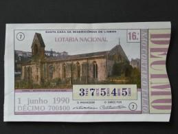 PORTUGAL        LOTARIA NACIONAL  - 16ª 01-06-1990  -  2 Scans  (Nº04816) - Biglietti Della Lotteria