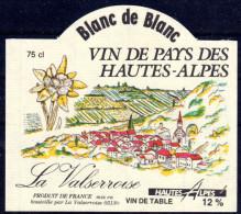 THEME FLEUR étiquette De Vin BLANC DE BLANC DES HAUTES ALPES - EDELWEISS - Edelweiss