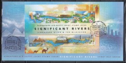 Singapore 2011 Joint Issue With Egypt, Rivers, Bridges, Orchids S/S FDC - Singapore (1959-...)