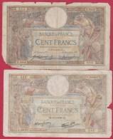 MERSON  //  Lot De 7 Billets De 100 Francs  //  état B - 1871-1952 Circulated During XXth