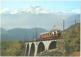 TRAIN Suisse - EISENBAHN Schweiz - LEYSIN - Train Aigle-Leysin Et Les Dents Du Midi - Autorail - Tramway - Trains