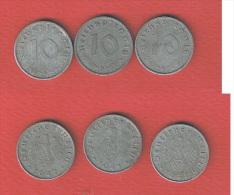 ALLEMAGNE  //  lot de 3  monnaies de 10 Reichspfennig //  1941 A-1941 D-1942 A