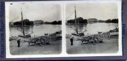 LIBOURNE GIRONDE LES QUAIS PHOTOS STEREOSCOPIQUES  SUR CARTON VOIR LES 2 SCANS - Stereoscopic